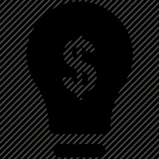 bright idea, brilliant idea, bulb, dollar, energy, innovation, light bulb icon