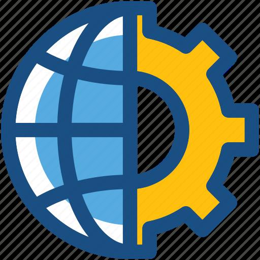 cog, cogwheel, global setting, globe, internet setting icon