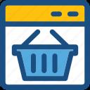 ecommerce, online shopping, shopping, shopping basket, shopping web icon