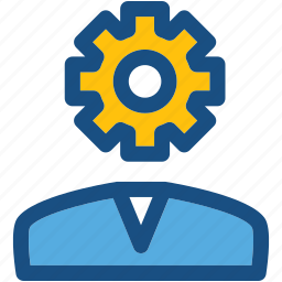 cog, man, profile setting, thinking, user icon