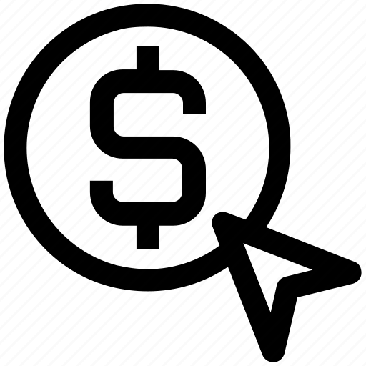 arrow, dollar, online, optimization, pay per click, ppc, seo icon