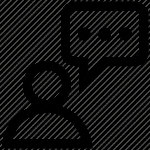 comment, communication, feedback, idea, opinion, user icon