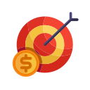 business, coin, finance, marketing, money, office, targeting icon