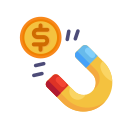 business, coin, currency, finance, magnet, marketing, money icon