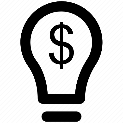 bright idea, brilliant idea, bulb, dollar, energy, innovation, light bulb icon