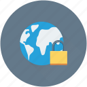 cyber security, globe, internet security, lock, padlock icon