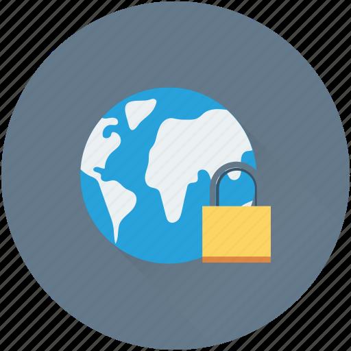 cyber security, globe, internet security, lock, padlock icon