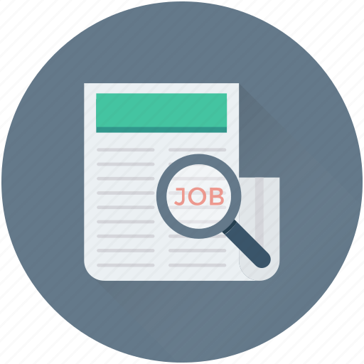 find job, job search, job seeker, magnifier, recruitment icon