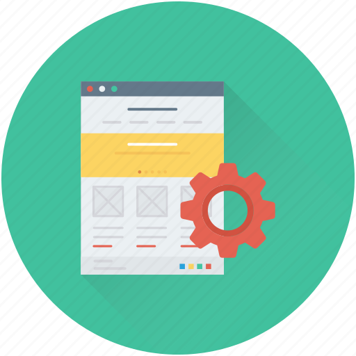 cog, programming, web development, website, wireframe icon