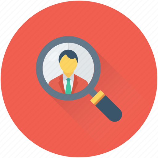 employment, find person, job search, magnifier, recruitment icon