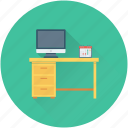 computer table, desk, office desk, work desk, workstation icon