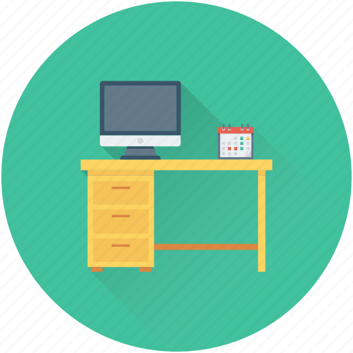 computer table, desk, office desk, work desk, workstation icon