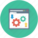 cog, programming, web development, website, wireframe icon