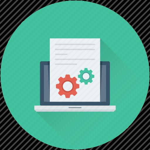 cog, development, laptop, programming, setting icon