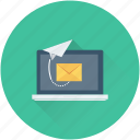 email, laptop, letter, send email, send message icon