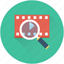 magnifier, multimedia, search video, seo, video marketing icon