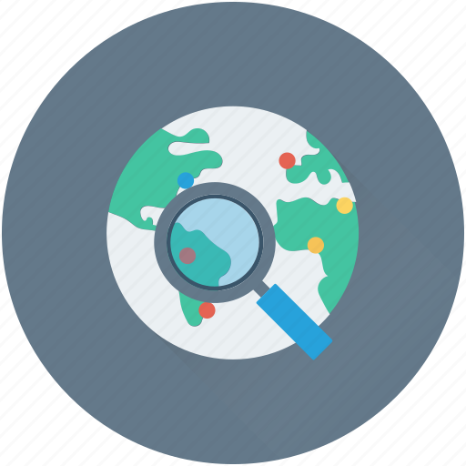 globe, internet search, location search, magnifier, magnifying lens icon