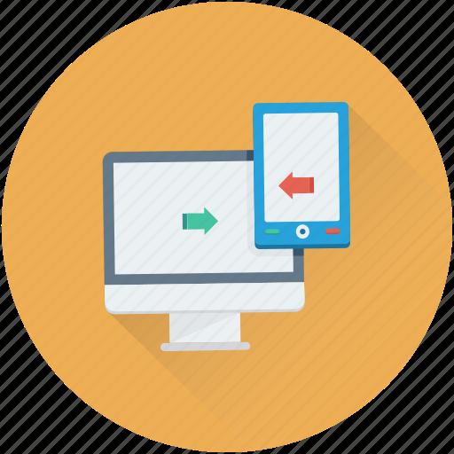 data exchange, data share, data transfer, mobile, monitor icon
