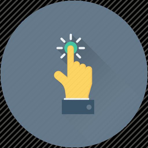 click, cursor, hand gesture, press button, tap finger icon