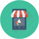bullhorn, mobile, mobile advert, mobile marketing, mobile shop icon
