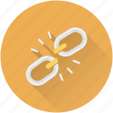 broken chain, hyperlink, interlink, broken connection, link break icon