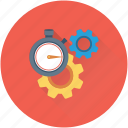 cogs, gears, optimization, processing, stopwatch icon