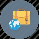 briefcase, business trip, businessman bag, globe