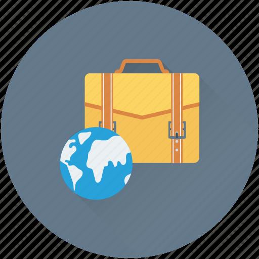briefcase, business trip, businessman bag, globe icon