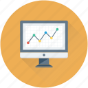 analytics, line graph, monitor, online graph, statistics icon