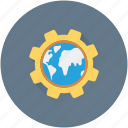 cog, gear, global network, globe, international icon