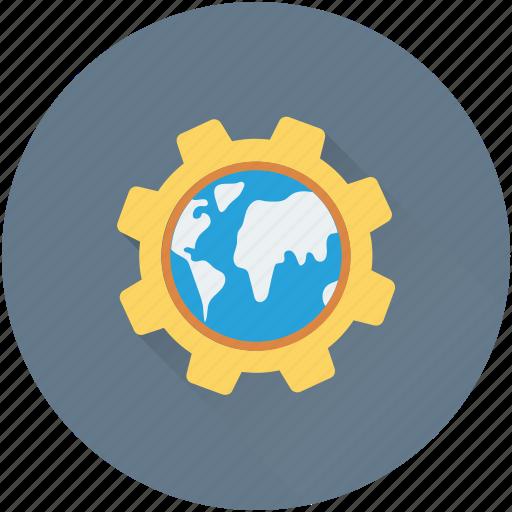 cog, gear, global network, globe, international icon
