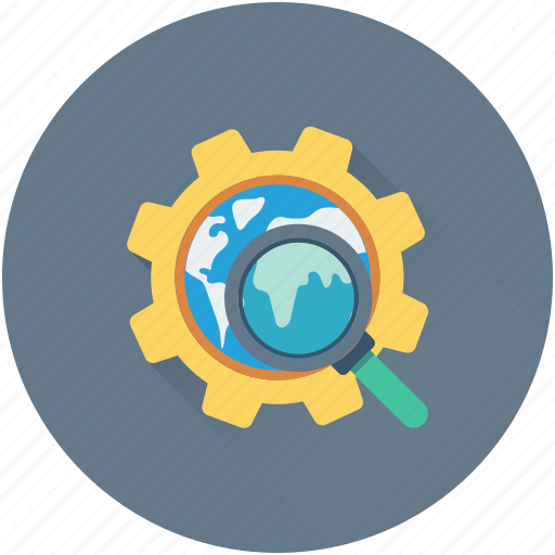 cog, globe, magnifier, search engine optimization, seo icon
