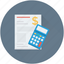 accounts, bill, calculator, receipt, statement icon