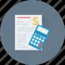accounts, bill, calculator, receipt, statement