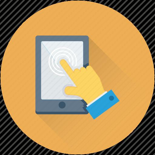 biometric, finger scanning, hand gesture, mobile, tap finger icon
