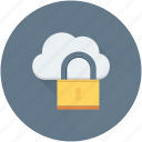 cloud computing, cloud security, cloud storage, lock, network security icon