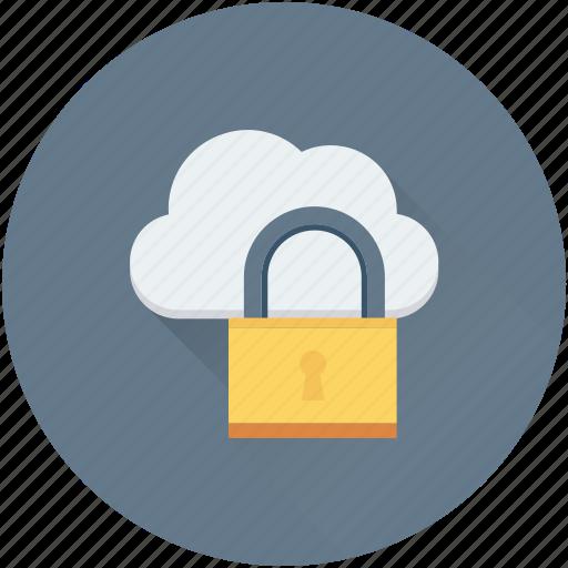 cloud computing, cloud security, cloud storage, lock, network security icon