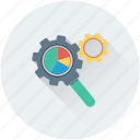 magnifier, optimization, pie chart, search engine, search settings icon
