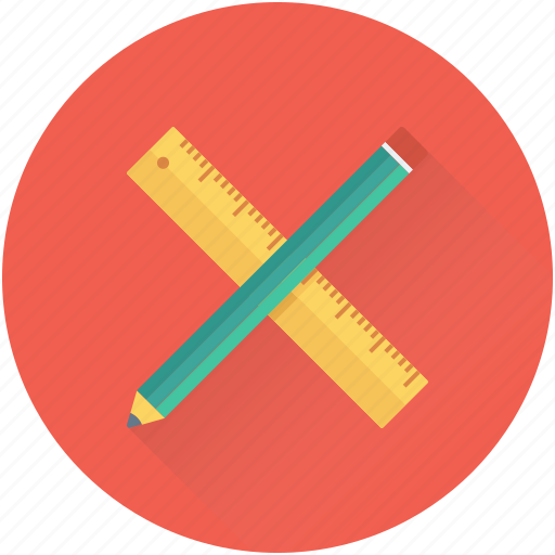 architect, drafting, pencil, ruler, scale icon