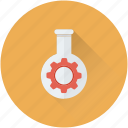cog, flask, mechanism, optimization, research icon