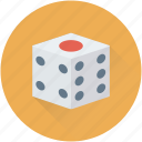 dice, dice cube, gambling, luck game, rolling dice icon