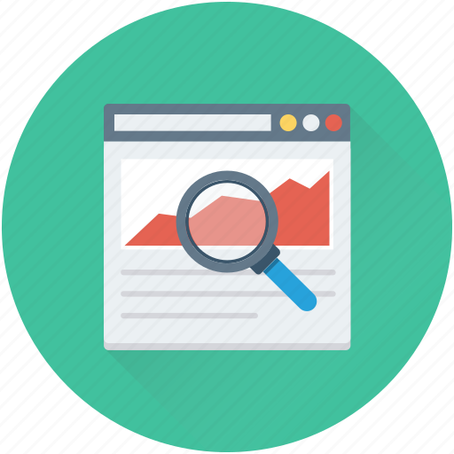 graphic, infographics, magnifier, search graph, website icon