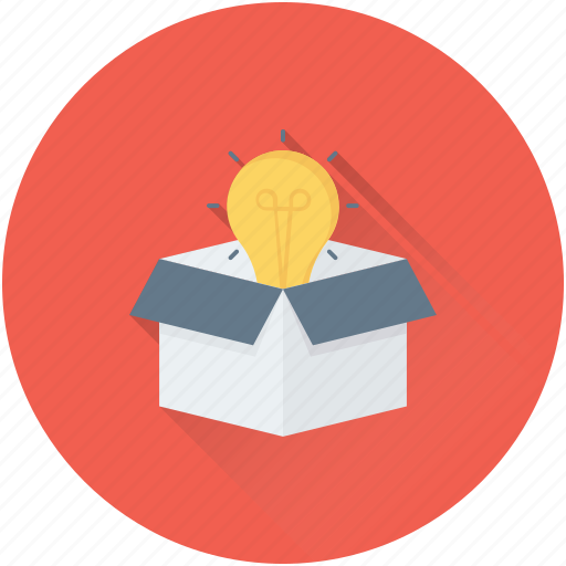 box, bulb, creativity, idea, parcel icon