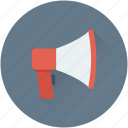 announcement, bullhorn, loud hailer, megaphone, speaking trumpet icon