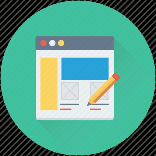 content writing, web development, web editor, web page, website icon