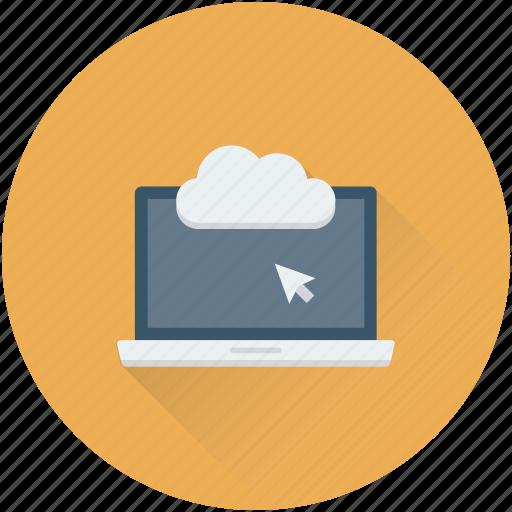 cloud computing, cloud connection, cloud drive, cloud storage, laptop icon