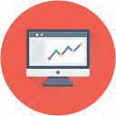 analytics, infographics, line chart, monitor, online graph icon