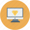diamond, jewel, monitor, premium, seo icon