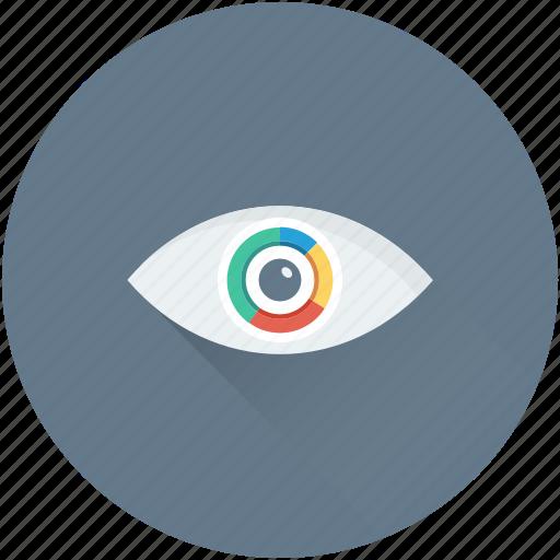 data visual, eye, pie graph, view, visualization icon