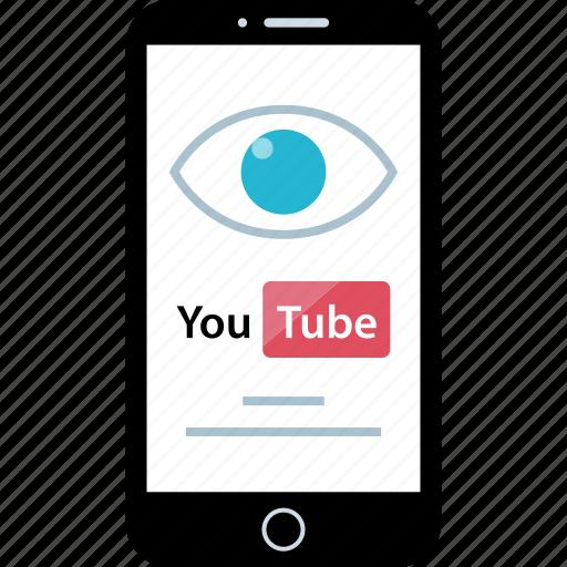 eye, mobile, views, youtube icon